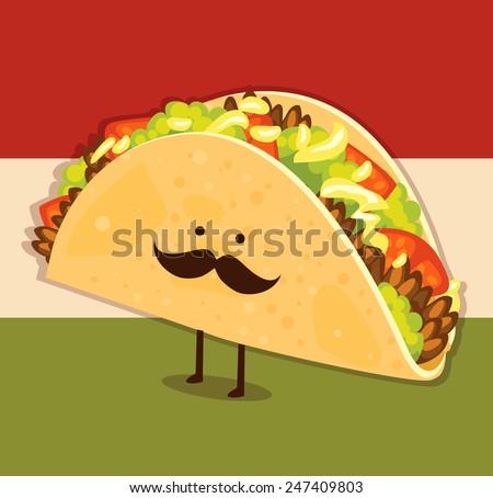 Cute little taco - stock vector
