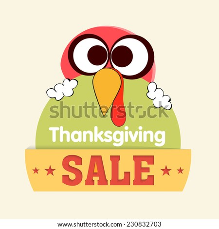 Cute little turkey bird holding sale tag on occasion of Thanksgiving Day celebrations. - stock vector