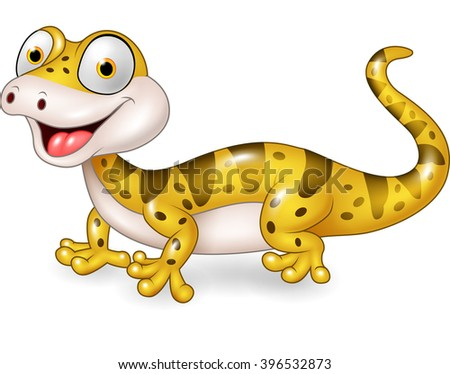 Cute lizard posing isolated on white background - stock vector