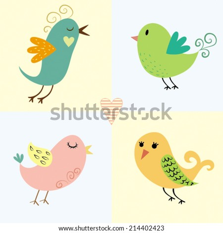 Cute Lovely Birds Illustration - stock vector