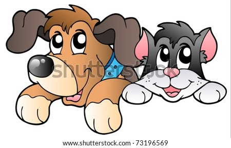 Cute lurking pets - vector illustration. - stock vector