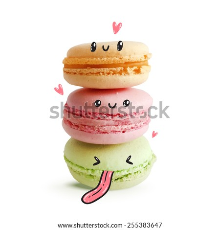 Cute macaroon with faces. Vector food image - stock vector