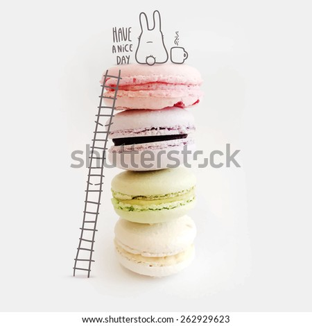 cute macaroons and funny bunny with coffee mug - stock vector