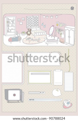 Cute Memo Paper - pink romantic message or memo pad with girl's room : room full of luxury furniture (tv, bed, wardrobe, book & bookshelf, sofa, mirror, table, lamp etc..) - stock vector