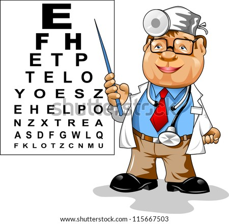 Cute men doctor - ophthalmologist points to the table for testing visual acuity; - stock vector