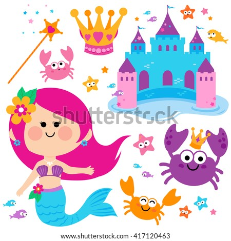 Cute mermaid fish and castle fairy tale set. - stock vector