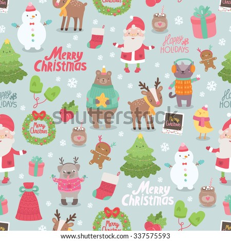 Cute Merry Christmas and Happy New Year seamless pattern - Santa Claus, bird, ginger cookie, snowman, deer, pug, cat, bear, tree, gift, mittens, sock. Adorable design illustrative elements - stock vector
