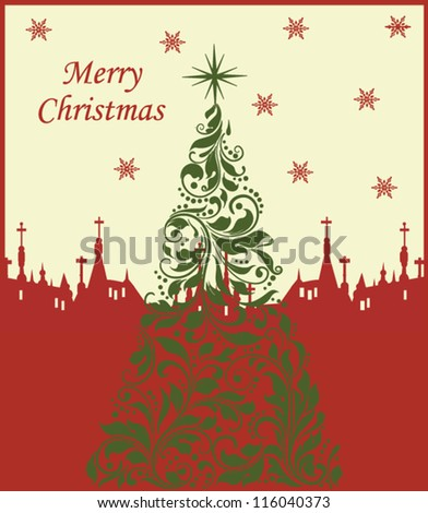 Cute Merry Christmas card - stock vector