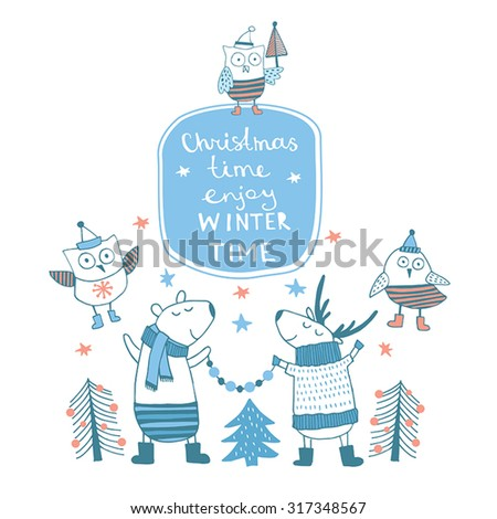 Cute Merry christmas card with happy deers. Lovely cartoon background with holiday symbols. Blue color background. Winter time. - stock vector