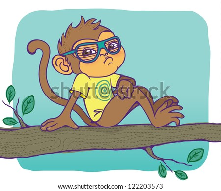 Cute monkey boy chilling in a tree. Shutter shades and glasses are in different layers. He looks cool without his glasses too. - stock vector
