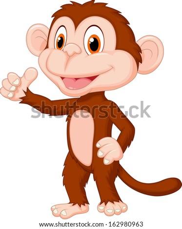 Cute monkey cartoon giving thumb up - stock vector