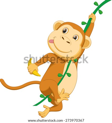 Cartoon Monkey Hanging Upside Down Cute Monkey Cartoon Hanging