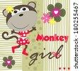 cute monkey girl vector illustration - stock vector