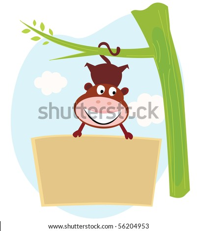 Cute Monkey hanging from tree upside down with banner. Cute little monkey holding a blank sign. Write your text into blank sign. - stock vector