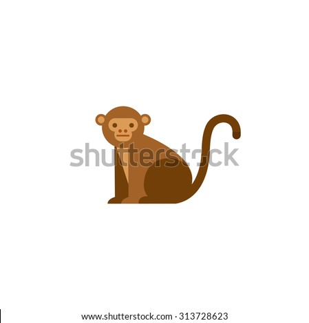 Cute monkey icon, logo, symbol. Vector illustration isolated on a white background. - stock vector