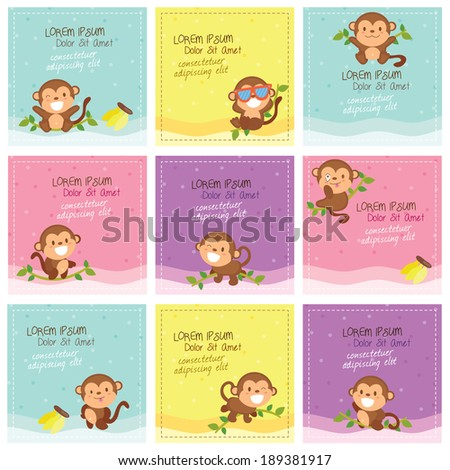 cute monkey layout design - stock vector