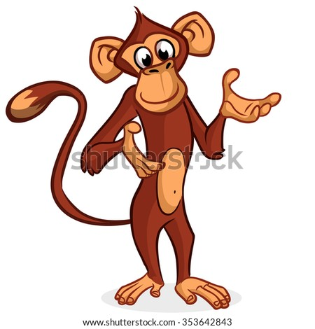 Cute monkey presenting and pointing hand. Vector Cartoon character on a white background - stock vector