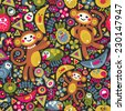 Cute monkey seamless texture. Vector colorful pattern for you background. Monkey is the symbol of 2016.  - stock vector