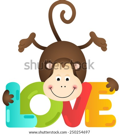 Cute monkey with love text - stock vector