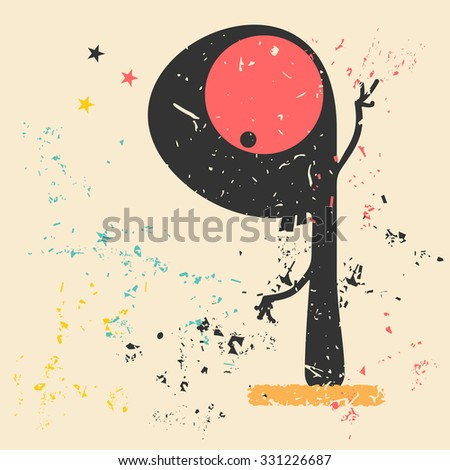 Cute monster on retro grunge background. Cartoon illustration. Vintage vector illustration. - stock vector