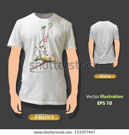 Cute monster printed on white shirt. Vector design. - stock vector