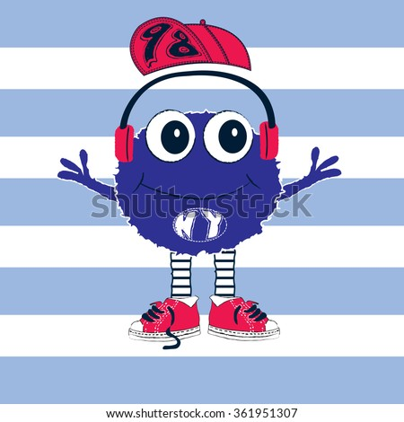 cute monster with earphone and baseball cap on striped background, T-shirt design vector illustration - stock vector