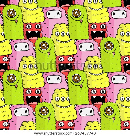 Cute monsters and doodle aliens. Vector colorful seamless pattern. - stock vector