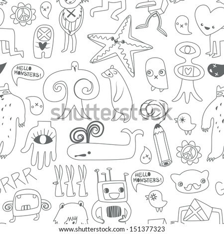 Cute monsters and freaks. Seamless background. Set 9. Black-white. Vector illustration - stock vector