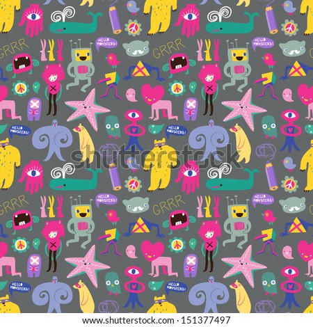Cute monsters and freaks. Seamless background. Set 6. Vector illustration - stock vector