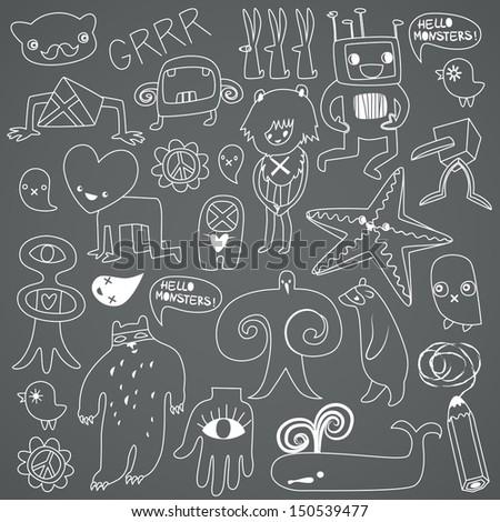 Cute monsters and freaks. Set 3. Black-white. Vector illustration - stock vector
