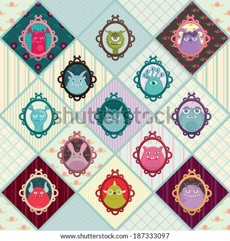 Cute monsters in frames on different backgrounds. Monsters cartoon pattern. Vector illustration. - stock vector