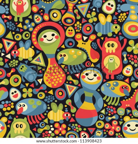 Cute monsters seamless pattern. Vector colorful background. - stock vector