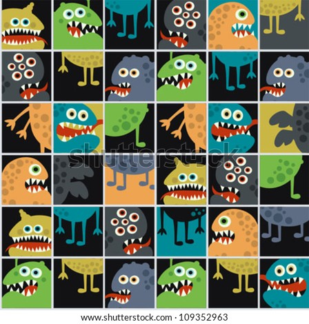 Cute monsters seamless texture with windows. Vector pattern with space microbes. - stock vector