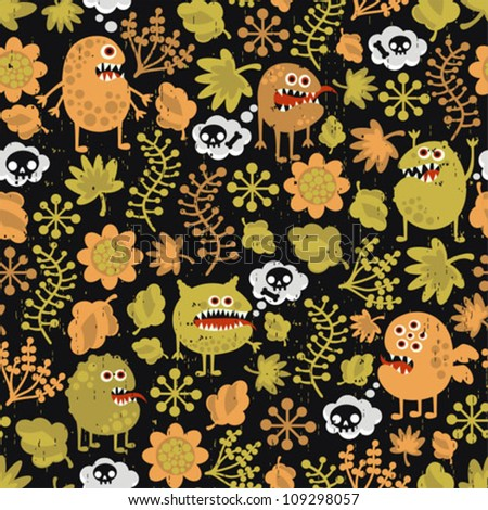 Cute monsters seamless texture with yellow leaves. Vector pattern with microbes. - stock vector