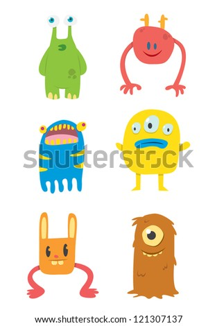Cute Monsters Set - stock vector