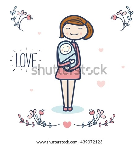 Cute mother and baby vector illustration with flowers and hearts. Postcard design. Love. - stock vector