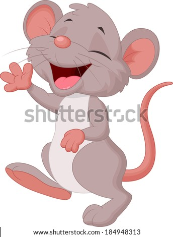 Cute mouse cartoon posing - stock vector