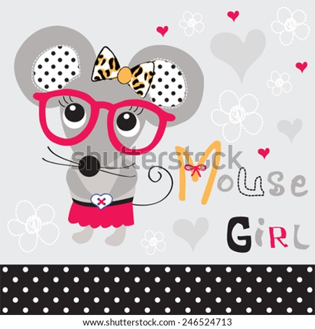 cute mouse girl with glasses vector illustration - stock vector
