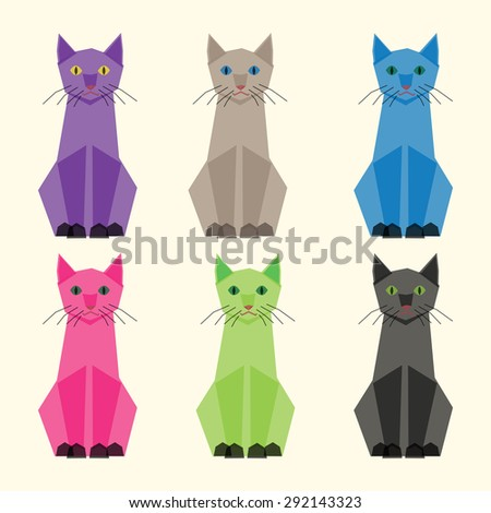 Cute multicolor vector cats set. Polygonal transparent style. EPS 10 vector illustration, transparency used - stock vector