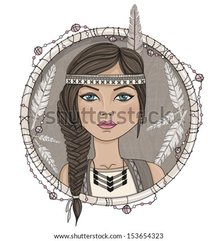 Cute native american girl and feathers frame. - stock vector