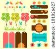 Cute nature elements for scrapbook - stock vector