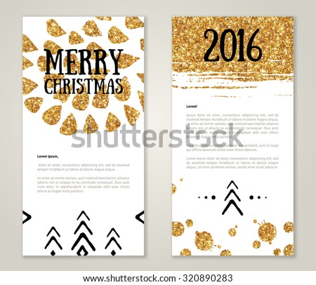 Cute New Year 2016 Greeting Cards with Gold Confetti Glitter Texture. Vector illustration. Sequins Pattern. Lights and Sparkles. Glowing New Year or Christmas Poster. Golden paint stroke and stain. - stock vector