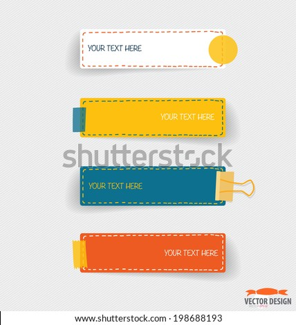 Cute note papers, Business working elements for web design , mobile applications, social networks. Modern Flat design vector illustration concept.  - stock vector
