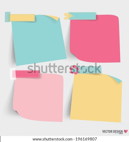 Cute note papers, ready for your message. Vector illustration. - stock vector