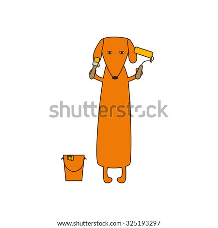 Cute orange colored brown contoured dachshund standing on hind legs with dissolved forelegs, holding paint brush and roller, paint bucket near it. Flat style illustration - stock vector