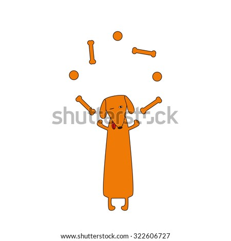 Cute orange colored brown contoured dachshund with protruding tongue, one eye closed and one opened standing on hind legs and juggling bones and balls forelegs. Vector flat style illustration - stock vector