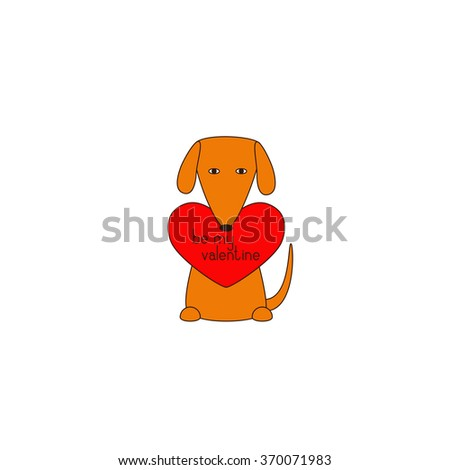Cute orange colored brown contoured sitting dog holding red heart with lettering be my valentine in mouth. Declaration of love. Flat style illustration. Greeting card / invitation design element - stock vector