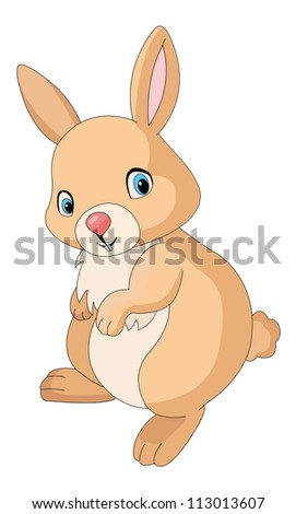 Cute orange rabbit, vector illustration - stock vector