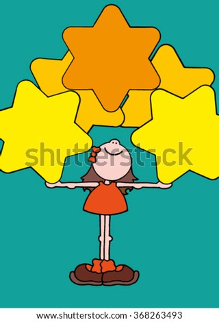 Cute original hand drawn stock vector illustration of a happy smiling girl in an orange dress holding five big yellow stars.  - stock vector