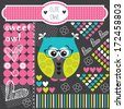 cute ornament owl vector illustration - stock vector